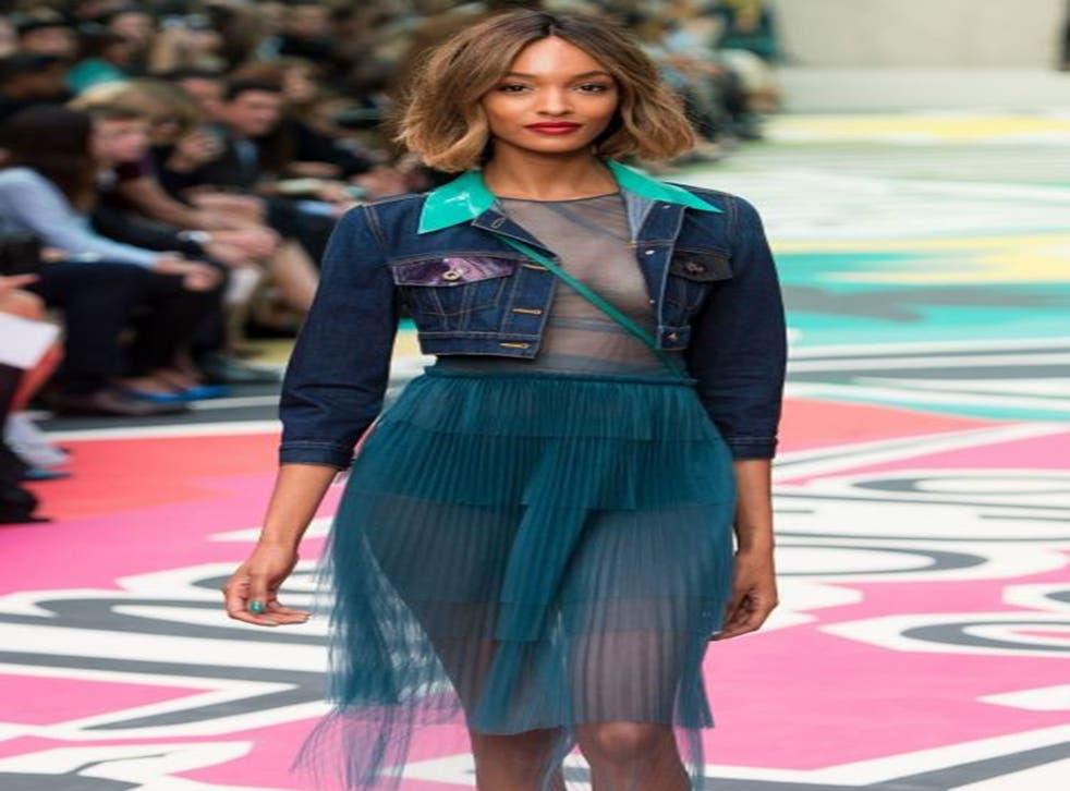 Model Jourdan Dunn walks the runway at the Burberry Prorsum show during London Fashion Week spring/summer 2015