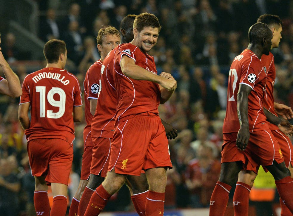 Steven Gerrard celebrates after his late winner