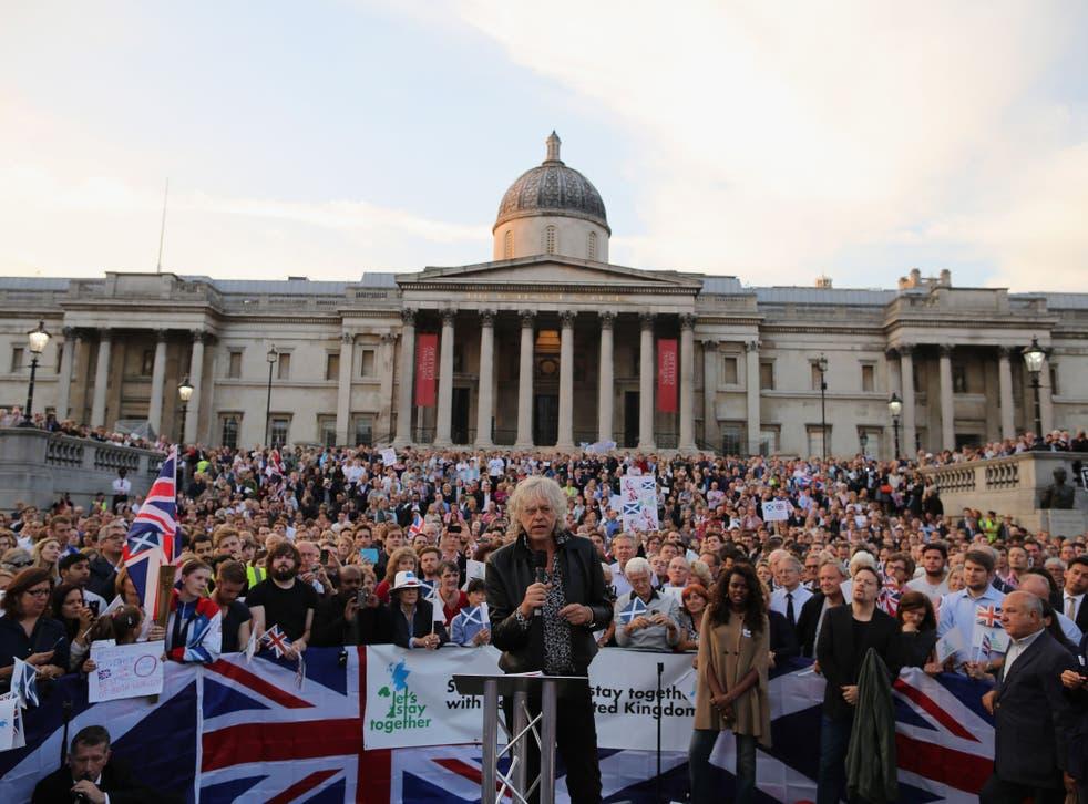 Sir Bob Geldof leads a Better Together rally in Trafalgar Square