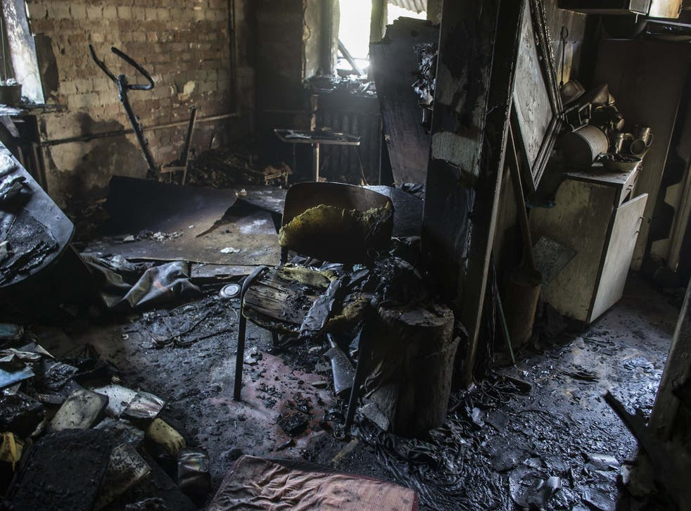 A destroyed flat that was shelled in Donetsk
