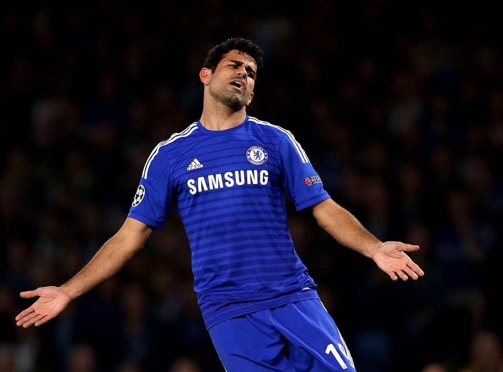 Diego Costa reacts during his late cameo performance against Schalke on Wednesday night