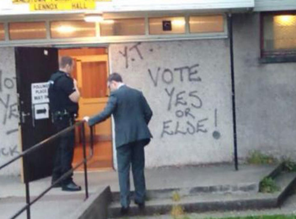 Graffiti on a polling station in Dumbarton