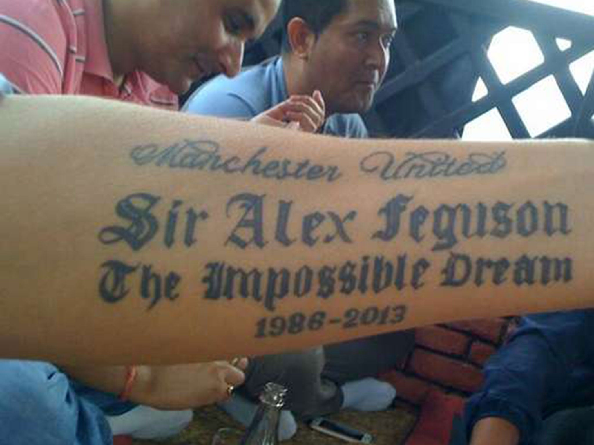 23b46895d Think before you ink: Manchester United fan gets Sir Alex Ferguson tattoo -  and will regret it for the rest of his life   The Independent