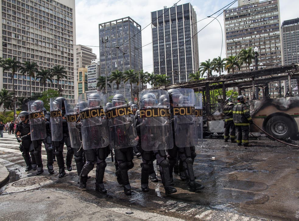 Police at a São Paulo protest