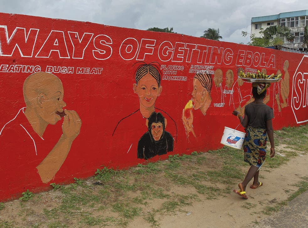 In Monrovia a woman walks past a mural used by the Liberian authorities to alert the public to the risks of Ebola – including a warning not to play with monkeys