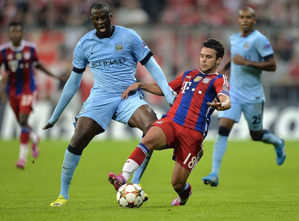 Yaya Touré (left) and Bayern Munich's Spanish defender Juan Bernat