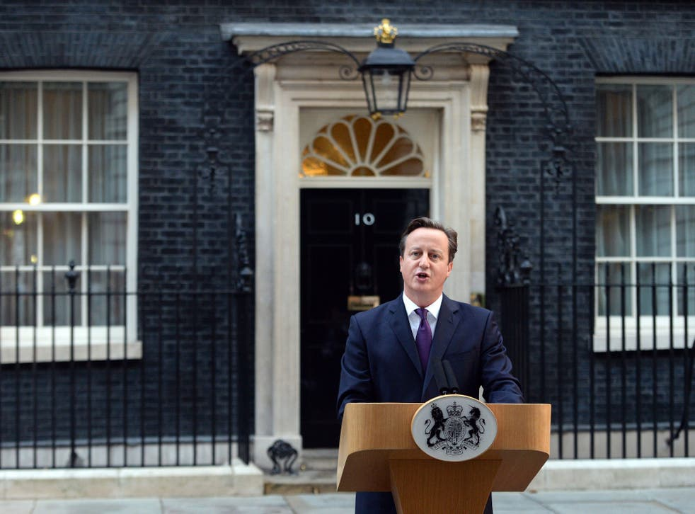 The Prime Minister David Cameron speaks outside Downing Street after the result of the Scottish Referendum