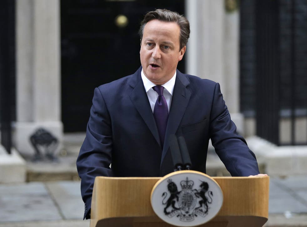 Prime Minister David Cameron reads a statement to the media about Scotland's referendum results outside Downing Street