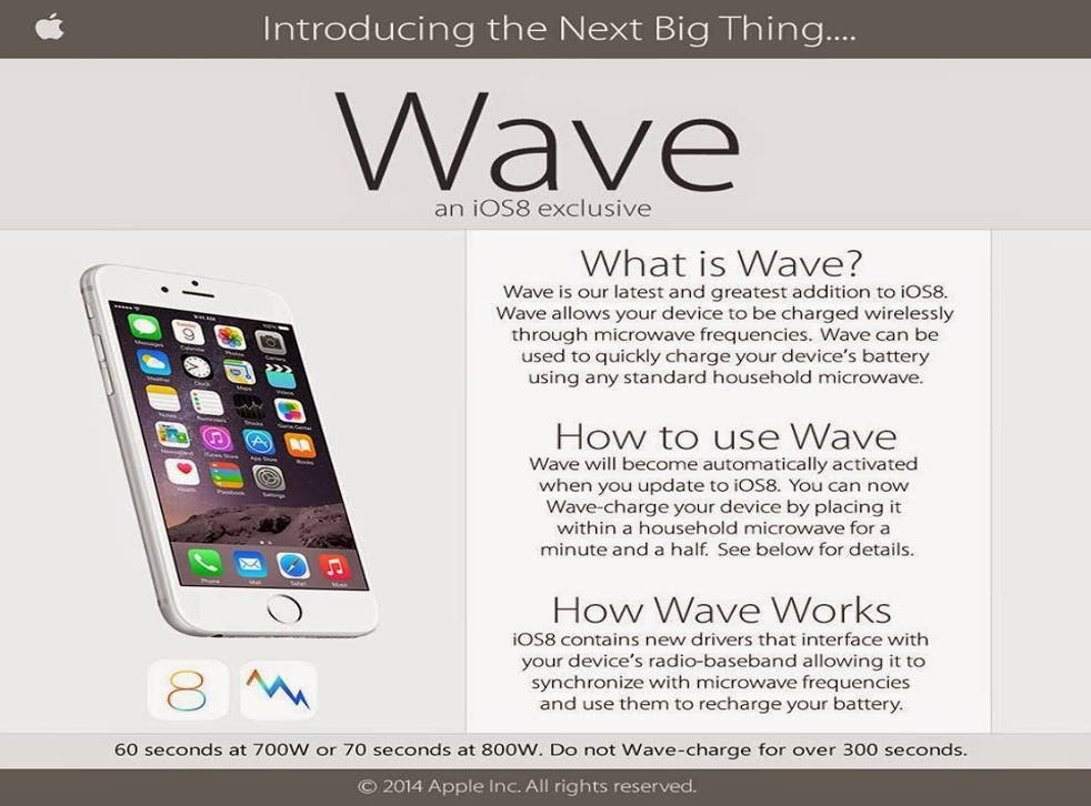 A screenshot of the iPhone 6 wave hoax currently being circulated on social media.