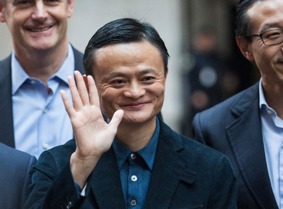 Alibaba's Jack Ma arrives at the NYSE ahead of Friday's IPO