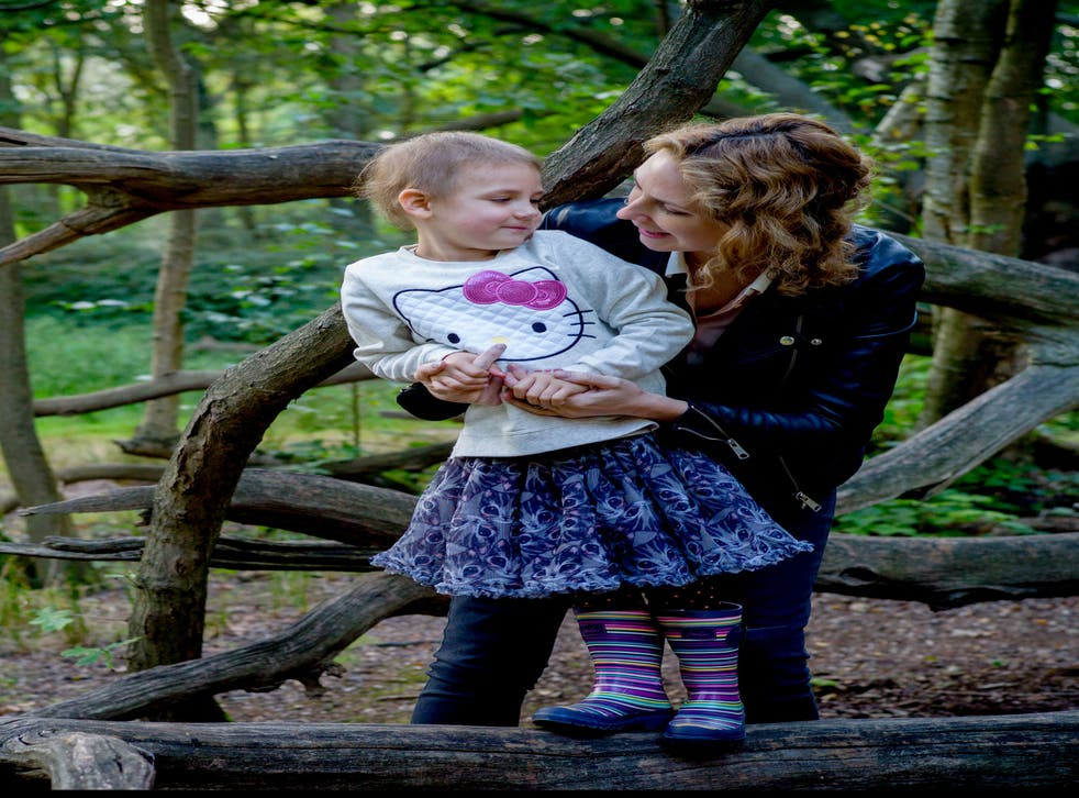 Karen Attwood with her daughter Yasmin, who was diagnosed with acute lymphoblastic leukaemia two years ago, aged two