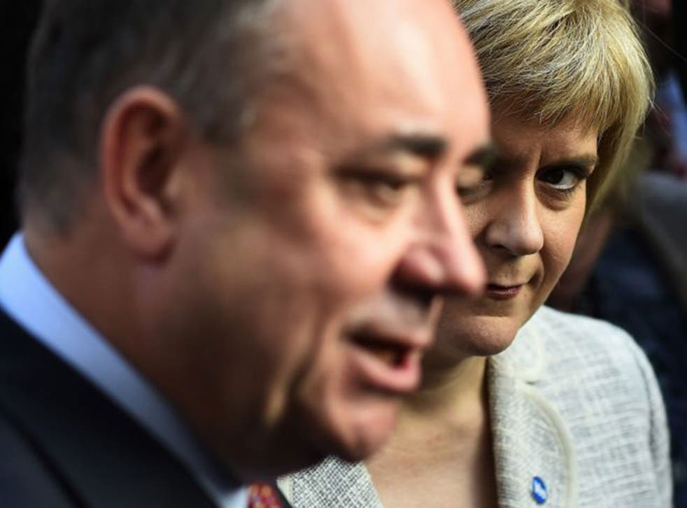 Nicola Sturgeon and former boss Alex Salmond campaigning together. She is edging ever closer to SNP leadership (Reuters)