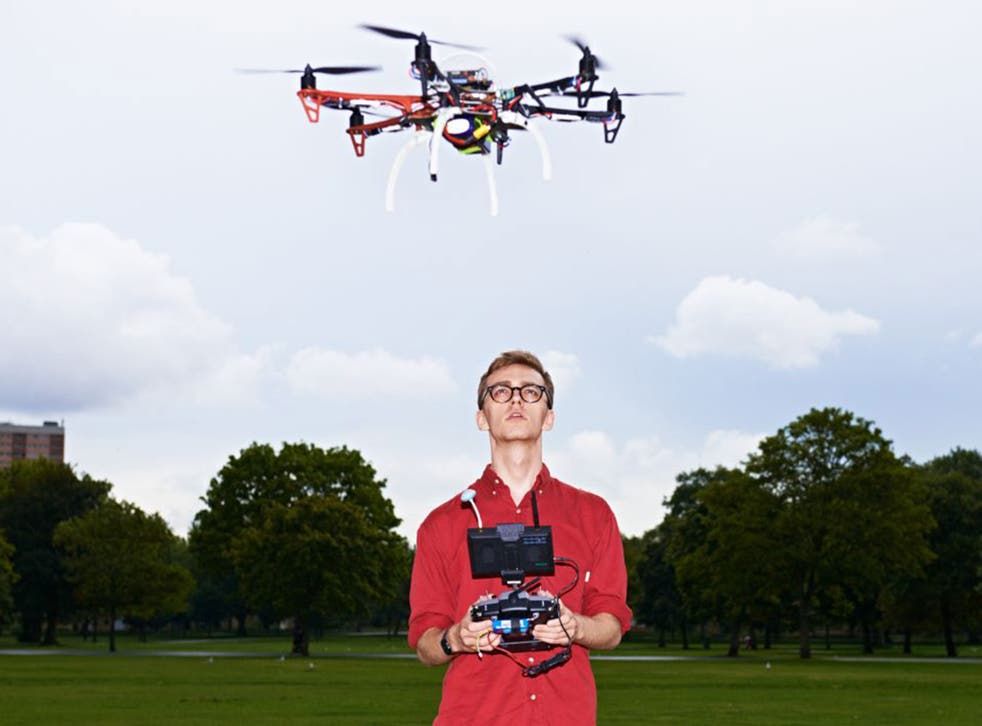 James Vincent, science and technology correspondent of The Independent, flies a F550HEX drone in Victoria Park, east London, last month