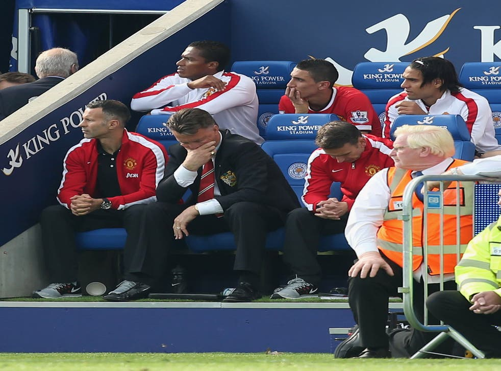 Van Gaal was dejected as United stumbled defensively in the second half