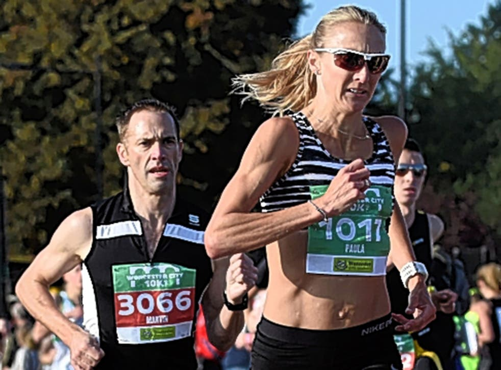 Paula Radcliffe on her way to a third place finish in the Worcester City 10k run on Sunday