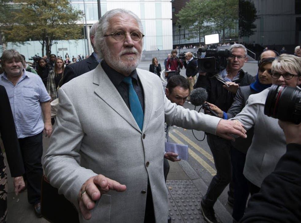 Dave Lee Travis leaves Southwark Crown Court after being found guilty of indecent assault