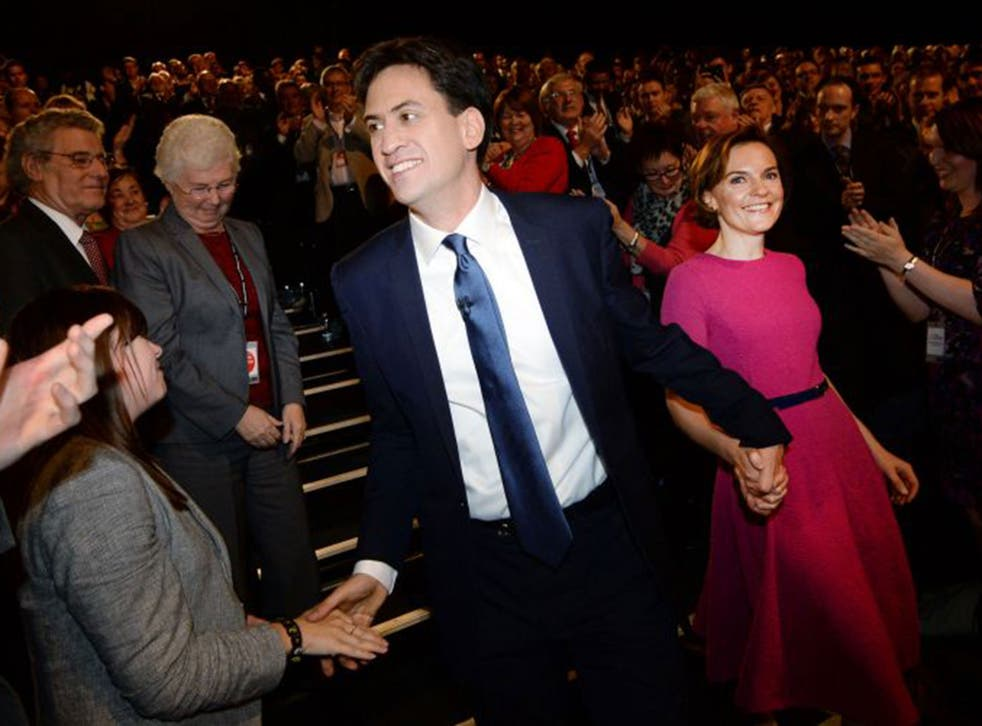 Miliband and wife Justine after  his speech