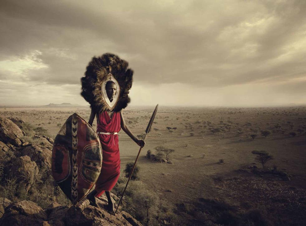 Maasai Warrior, Ngorongoro, Serengeti , Tanzania: The Maasai are one of the 'last great warrior cultures', says Nelson, but are increasingly found in cities, selling modern goods such as mobile phones, alongside goats and cows