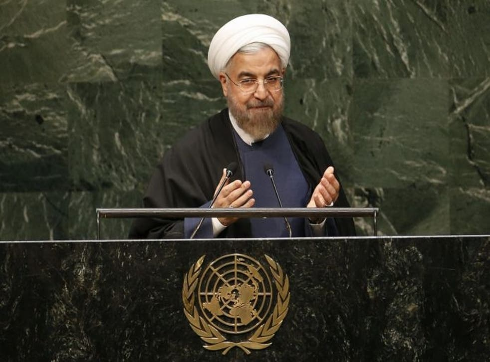 Iranian President Hassan Rouhani speaking at the  69th United Nations General Assembly