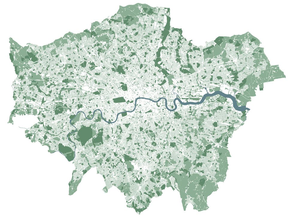 This new map, produced by Greenspace Information for Greater London (Gigl.org.uk) for the proposed Greater London National Park, shows only rivers and green space. It features no roads, buildings or other structures.