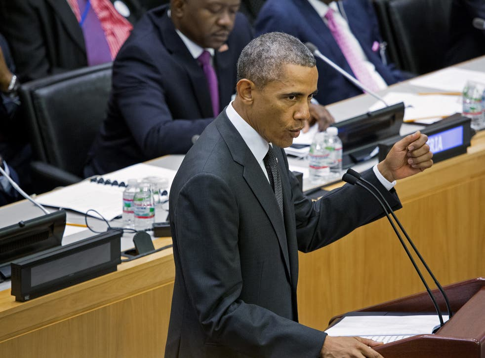 President Barack Obama speaks at a high level meeting on the Ebola outbreak
