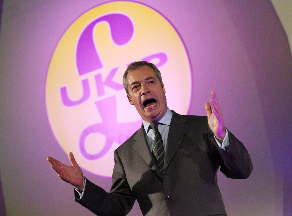 Ukip leader Nigel Farage delivering his speech at Doncaster yesterday in which only one sentence was about the EU