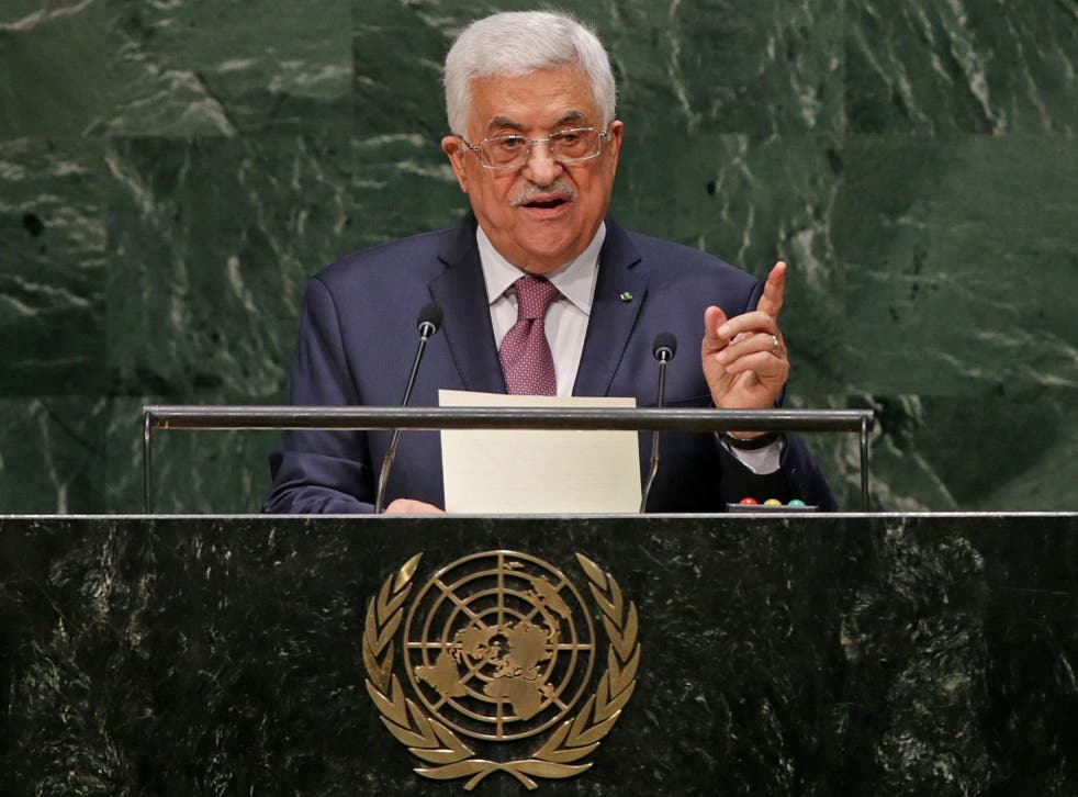 Palestinian President Mahmoud Abbas speaks during the 69th session of the United Nations General Assembly at United Nations headquarters in New York