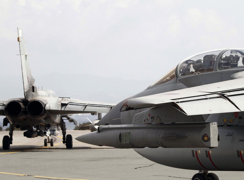 Royal Air Force Tornado GR4 fighter jets prepare to take off