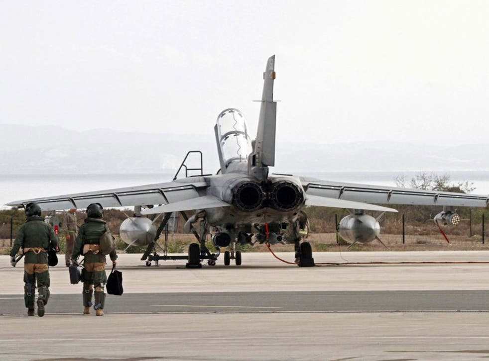 An RAF Tornado jet prepares to fly from Cyprus to Iraq