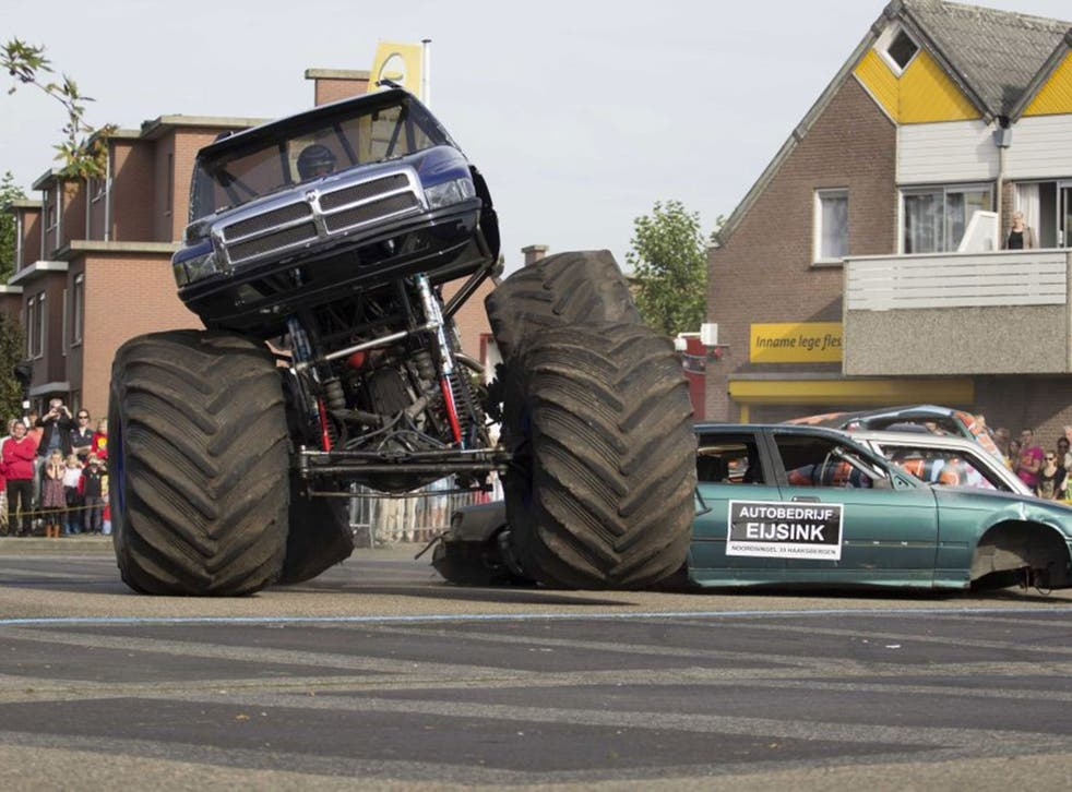 A monster truck in action during a demonstration in Haaksbergen,The Netherlands