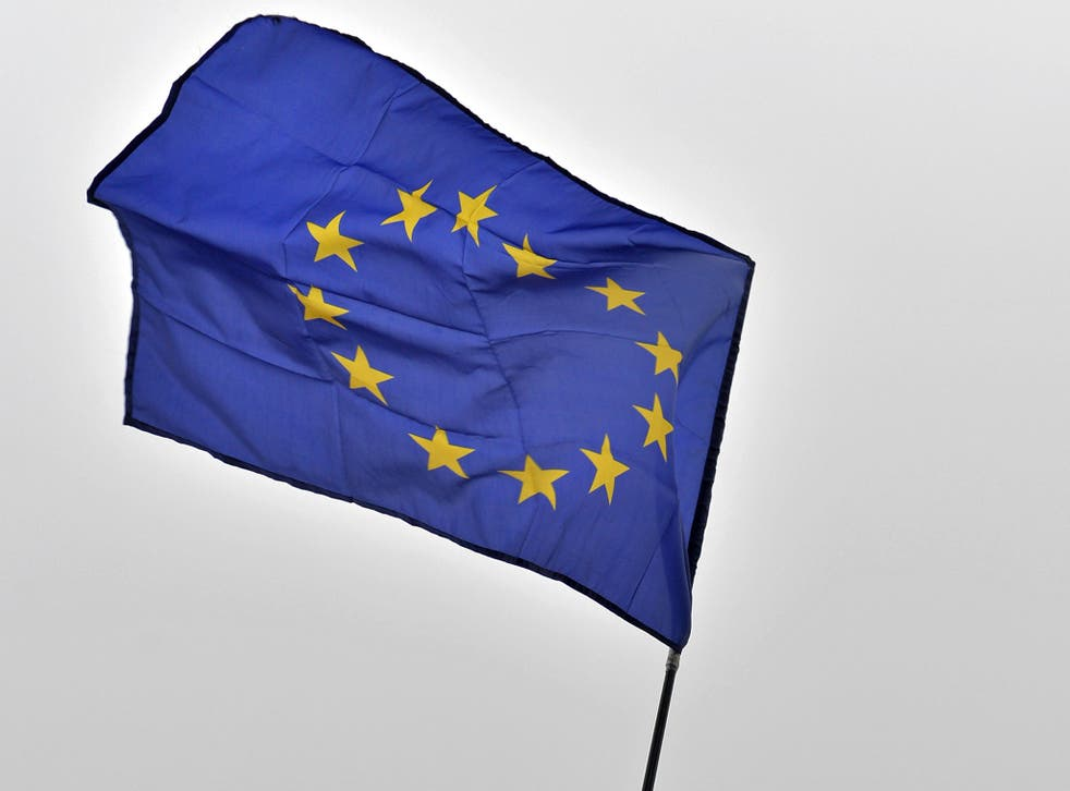 An EU flag, like the parchment flown in Holywood