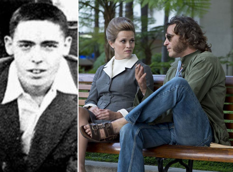 Thomas Pynchon in 1955, left, and Reese Witherspoon and Joaquin Phoenix in Paul Thomas Anderson's adaptation of his novel, Inherent Vice