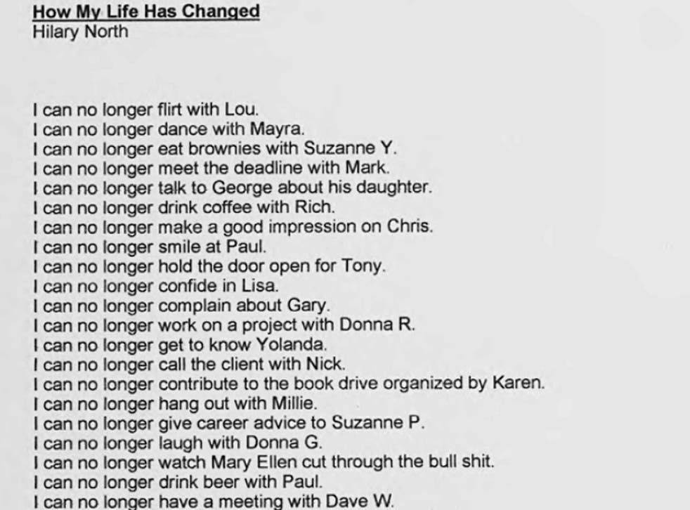 Hilary North's 'How My Life Has Changed', 2001