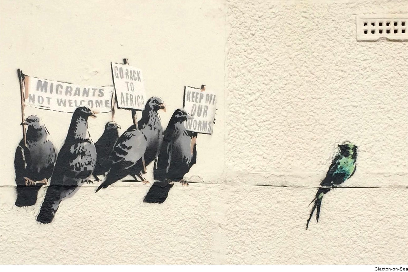 offensive banksy immigration mural in clacton scrubbed off wall offensive banksy immigration mural in clacton scrubbed off wall by council the independent