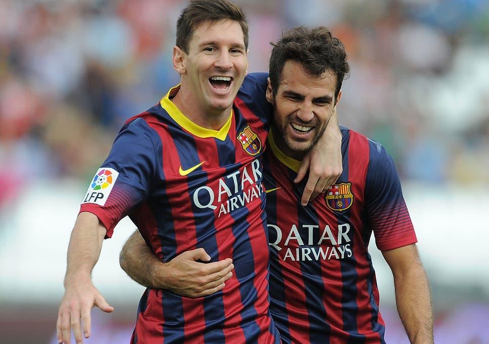 Lionel Messi dan Cesc Fabregas saat masih bersama di Barcelona