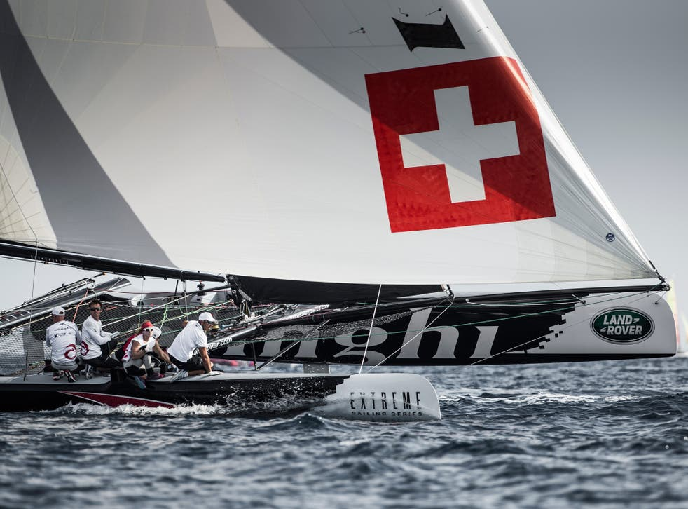 Morgan Larson and Switzerland's Alinghi won the Extreme Sailing Series regatta in Nice, extended his lead for the 2014 season, and goes into the final round in Sydney in December strongly tipped to lift the championship.