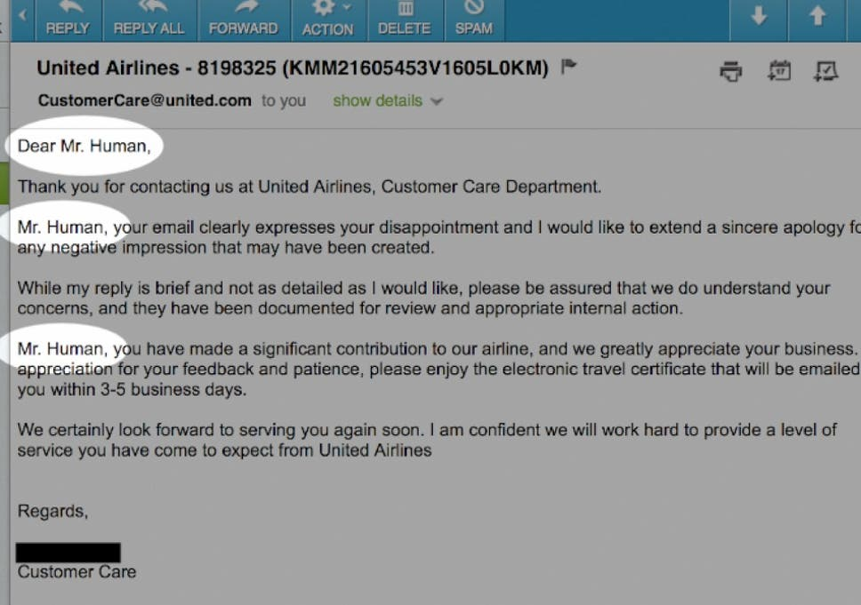 Dear Mr Human United Airlines Ctrlv Customer Service Department