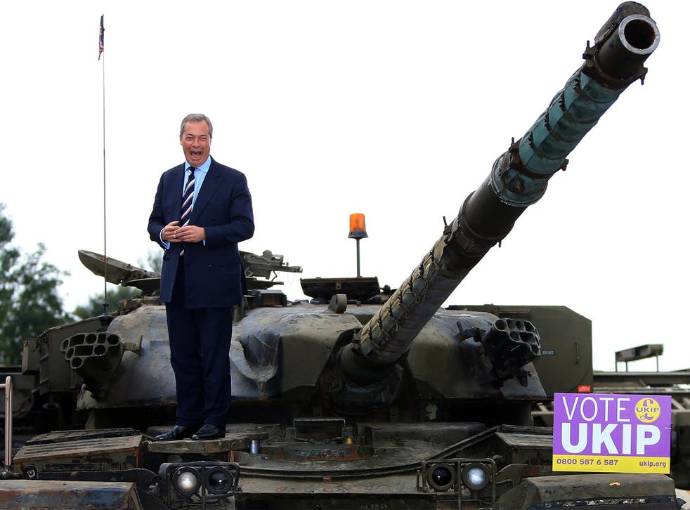 Nigel Farage on the campaign trail at Heywood Tank Museum