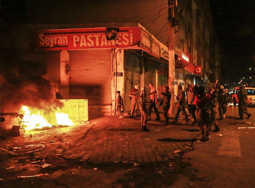 Kurdish protesters in the southeastern city of Diyarbakir