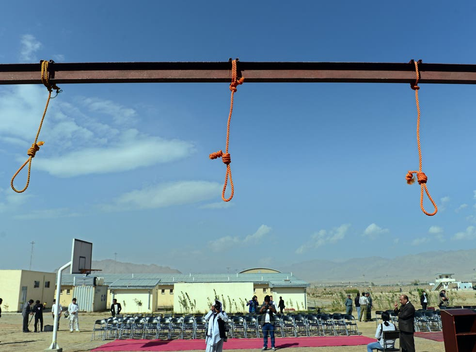 Nooses hang at Pul-e-Charkhi prison, on the outskirts of Kabul on October 8, 2014.