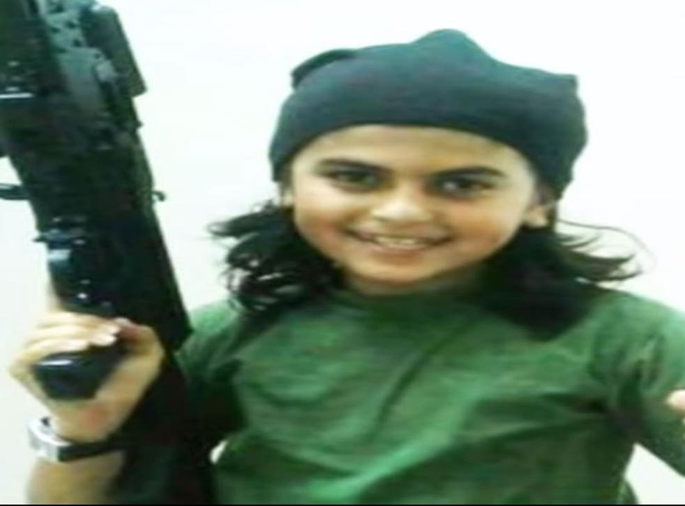 Isis supporters are circulating images of a child who they say has become the youngest to be killed in battle while fighting for the extremist group