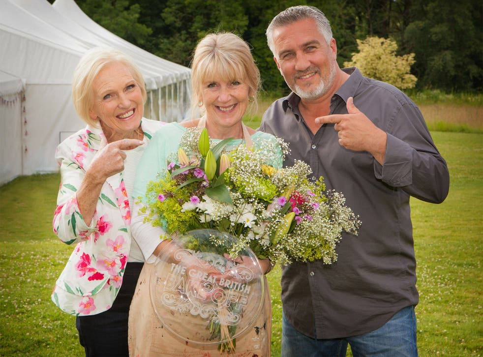 Mary Berry (left), Paul Hollywood and winner Nancy Birtwhistle