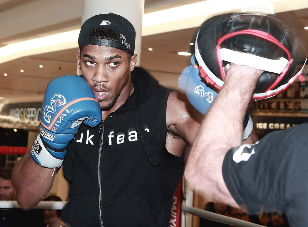 Anthony Joshua during a public work-out in London this week