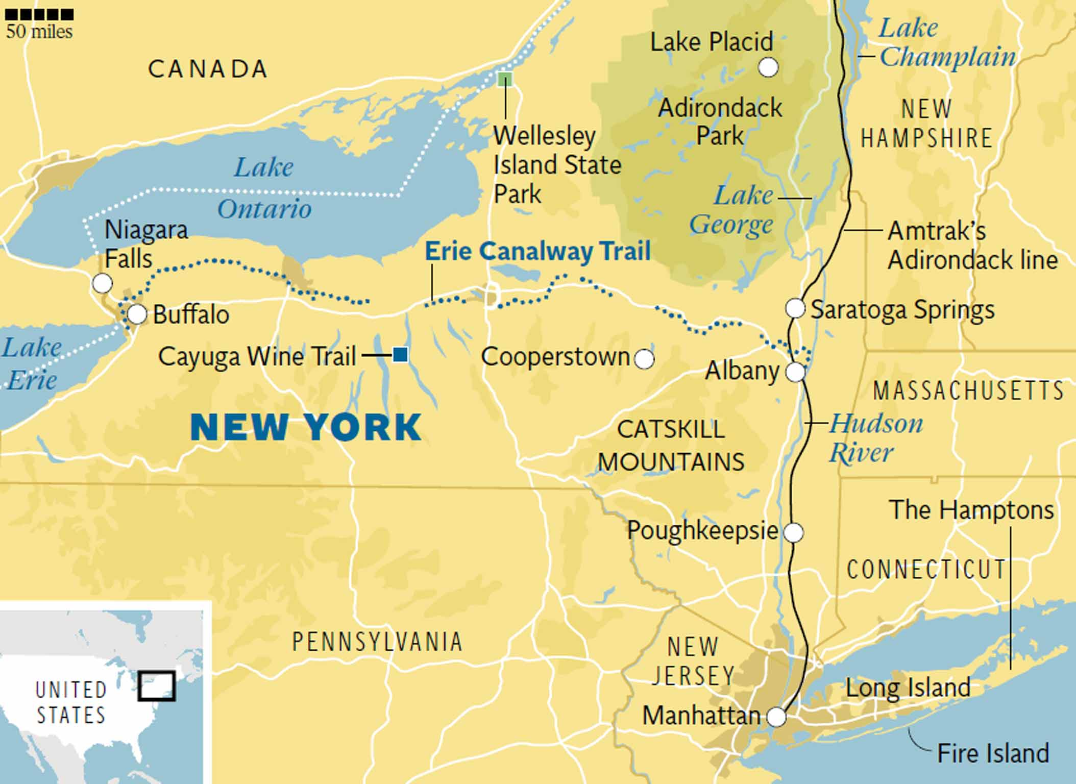 Map Of New York State And Canada.New York State Traveller S Guide The Independent