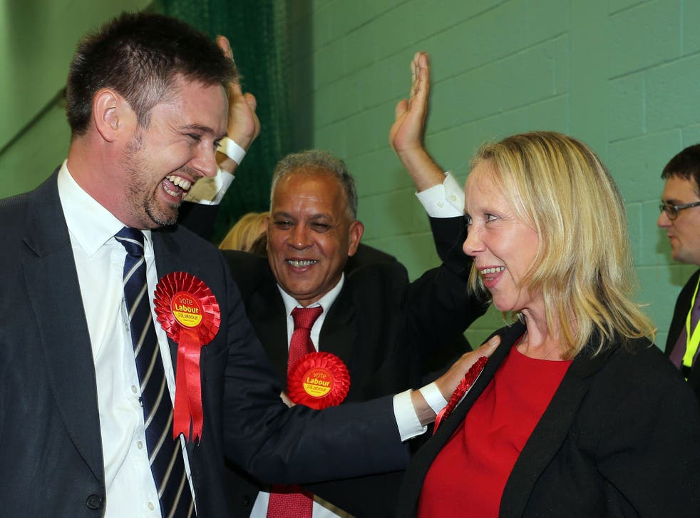 Labour's Liz Mcinnes celebrates her narrow victory in the Heywood and Middleton by-election