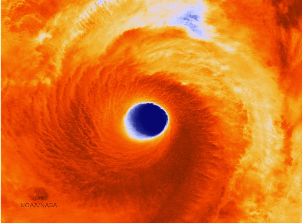 Infrared image of super typhoon Vongfong taken by satellite