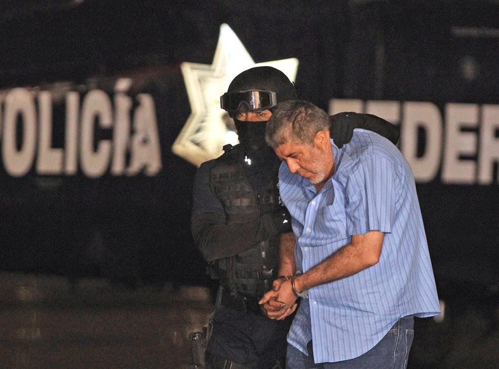 Vicente Carrillo Fuentes, the drug kingpin of the Juarez Cartel, being taken to the office of the Attorney General in Mexico City on Thursday