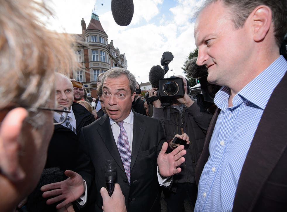 Ukip leader Nigel Farage with newly elected Ukip MP Douglas Carswell (right) after the party's win in Clacton