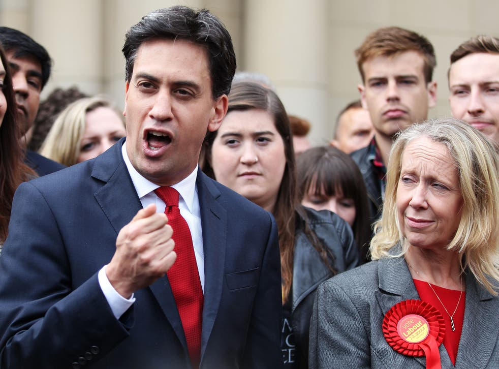 Ed Miliband with Liz McInnes, the MP for Heywood and Middleton, after Labour clung on to the seat with a majority of just 617