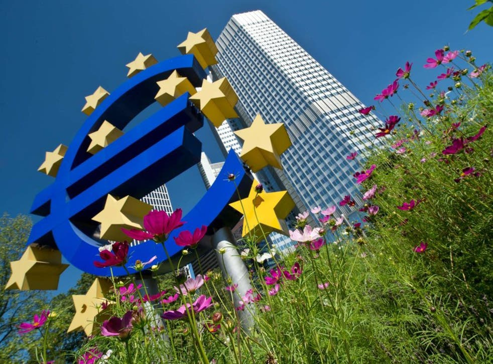 The Euro logo outside the European Central Bank in Frankfurt am Main, central Germany